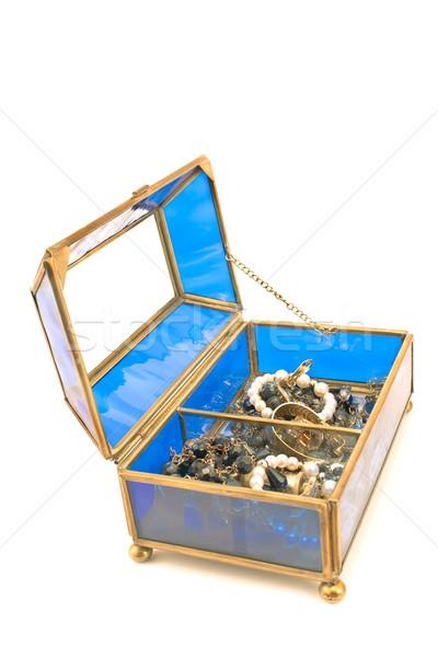Mavi cam takı kutu yalıtılmış beyaz Stok fotoğraf © gavran333
