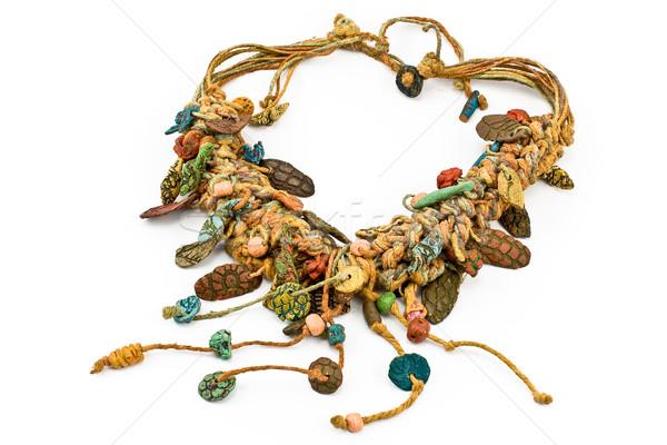 Nativo collana corde ceramica isolato moda Foto d'archivio © gavran333