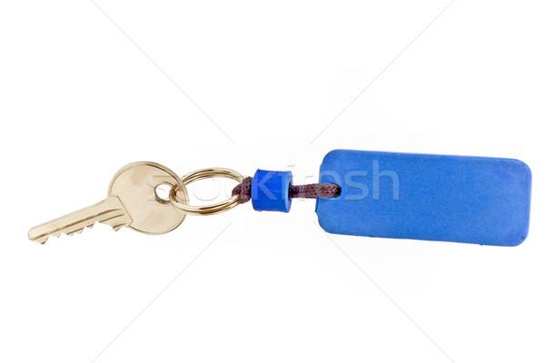 Casa chiave blu tag isolato bianco Foto d'archivio © gavran333