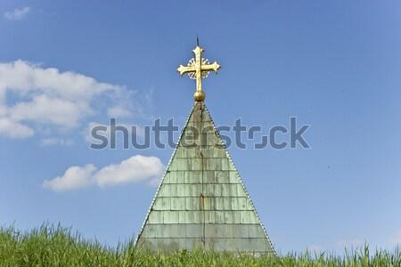 крест Blue Sky свет золото молитвы Сток-фото © gavran333