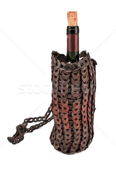 Velho couro vinho saco garrafa isolado Foto stock © gavran333
