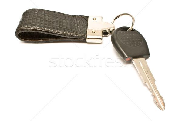 Autoschlüssel Leder isoliert weiß Hintergrund Metall Stock foto © gavran333