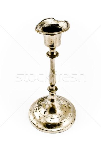 Antichi argento classico candeliere isolato bianco Foto d'archivio © gavran333