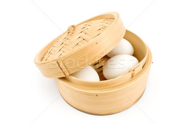 Branco ovos bambu cesta isolado páscoa Foto stock © gavran333
