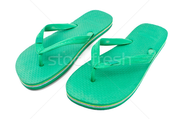 Pair of green rubber flip flop sandals Stock photo © gavran333