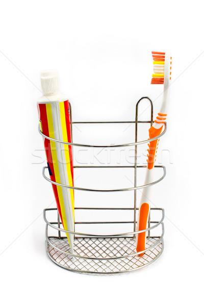 Diş fırçalamak diş macunu yalıtılmış beyaz Stok fotoğraf © gavran333