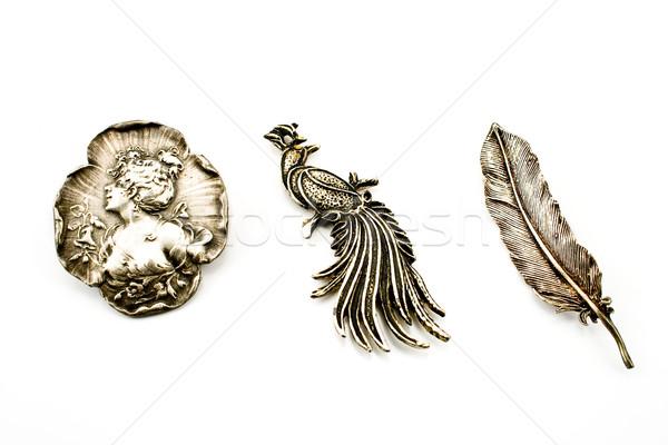 Three antique silver brooches Stock photo © gavran333