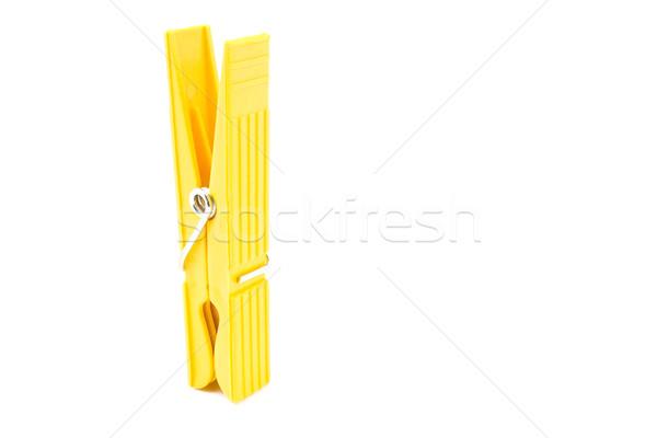 Amarelo prendedor de roupa isolado branco fundo cabo Foto stock © gavran333