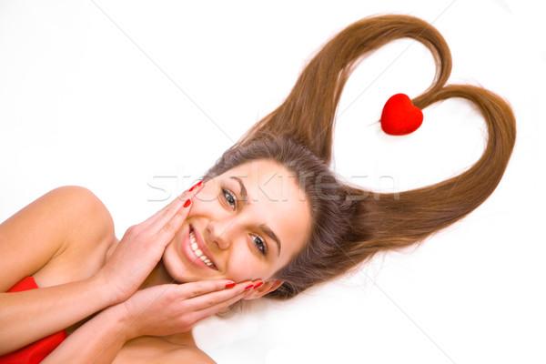 Photo stock: Jeune · fille · jeunes · adolescente · rouge · coeur · isolé
