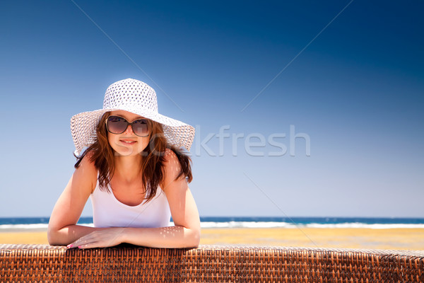 Photo stock: Jeune · fille · vacances · jeunes · belle · fille · chapeau · ensoleillée