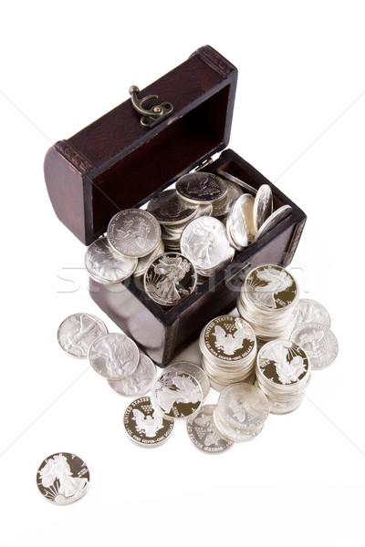 Caso argento monete vecchio completo isolato Foto d'archivio © Gbuglok