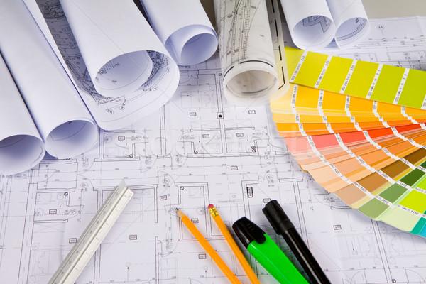 Architectural dessins bureau outils dessin couleurs Photo stock © Gbuglok