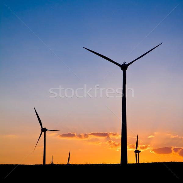 Windmills with sunset Stock photo © Gbuglok