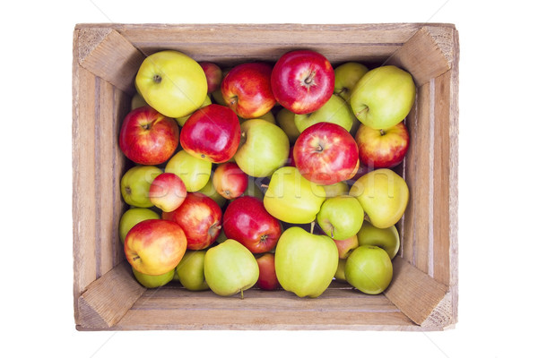 Photo stock: Fraîches · pommes · bois · boîte · isolé · blanche