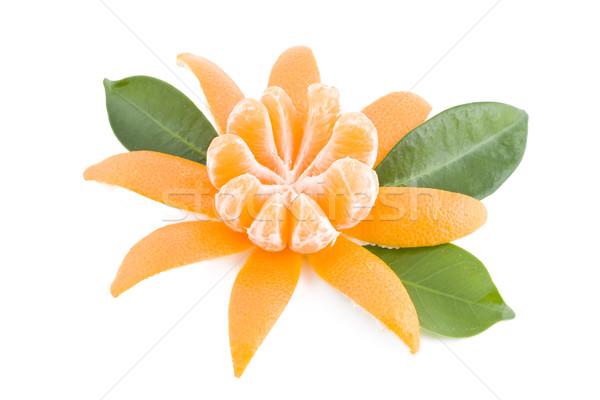 Succosa mandarino pelati fresche verde natura Foto d'archivio © Gbuglok