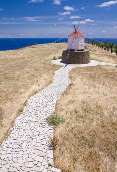 Footpath to Portuguese windmill Stock photo © Gbuglok