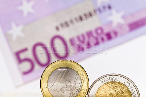Euro coins, euro bill Stock photo © Gbuglok