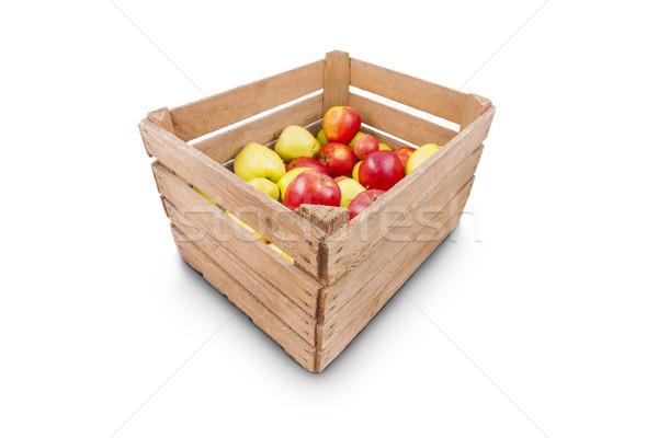 Fraîches pommes bois boîte isolé blanche Photo stock © Gbuglok