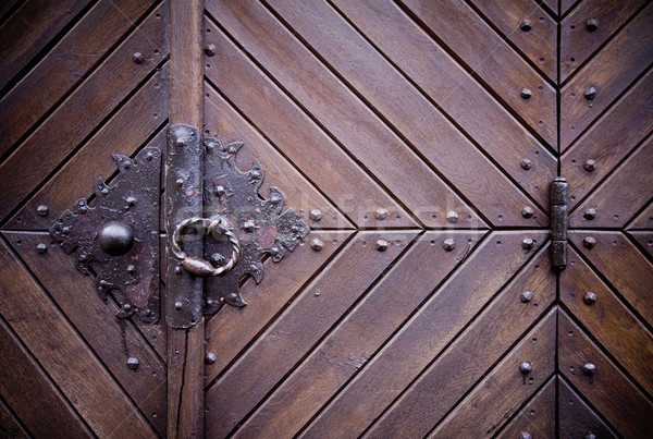 Medieval door knocker, hinge Stock photo © Gbuglok