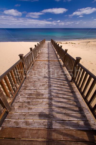 пешеходный мост пляж долго ведущий воды Сток-фото © Gbuglok