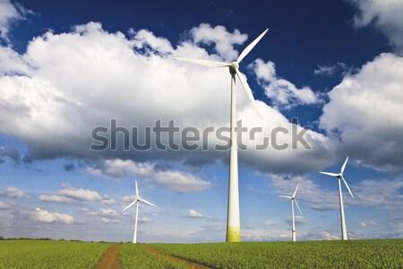 Blauwe hemel wolken alternatief energie bron vierkante Stockfoto © Gbuglok