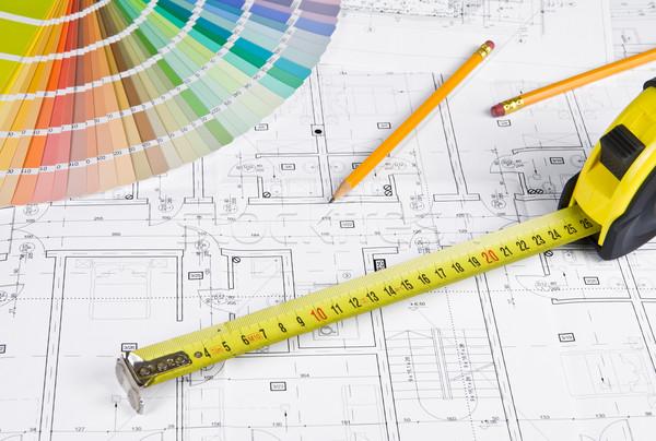 Photo stock: Architectural · projet · crayon · couleur · échantillon · mesure