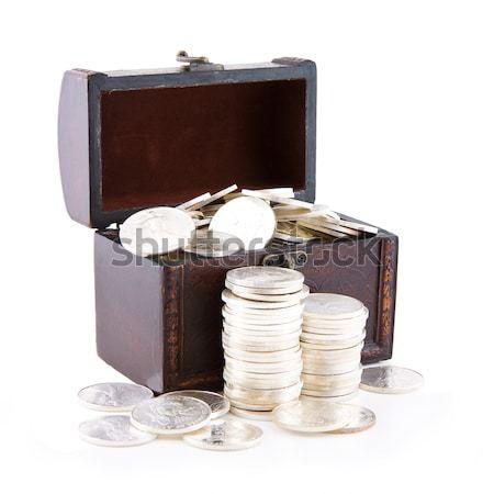 Rétro cas plein argent pièces vieux Photo stock © Gbuglok