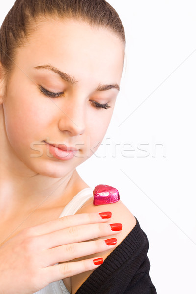 Valentines day girl with candy Stock photo © Gbuglok