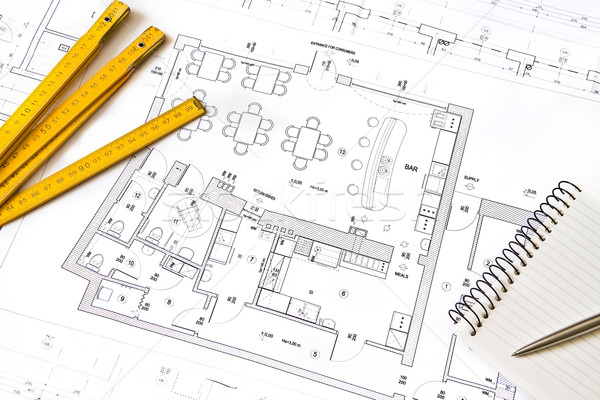 Photo stock: Architectural · dessin · objets · notepad · plan