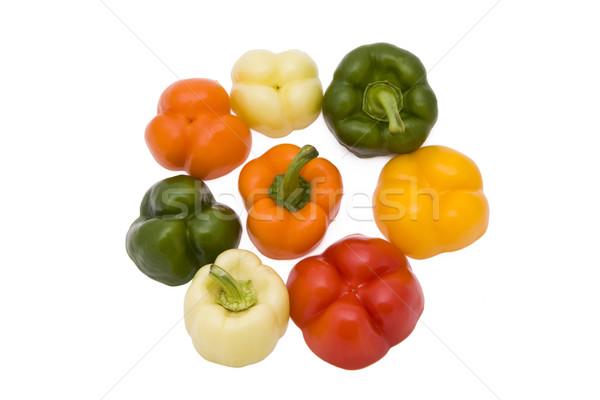 Paprika pièces cinquième différent couleurs isolé Photo stock © Gbuglok
