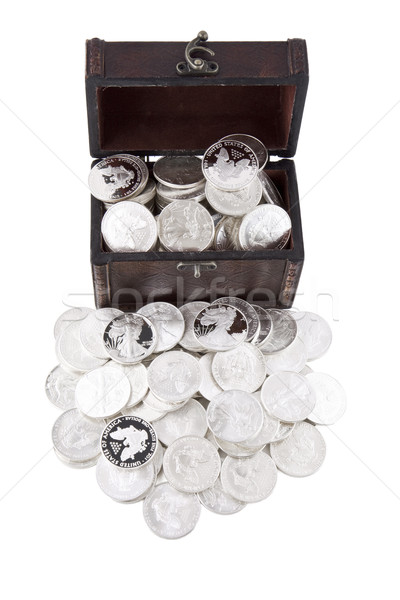 Case full of silver coins Stock photo © Gbuglok