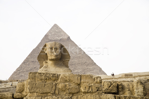 Egyptian Sphinx with pyramid Stock photo © Gbuglok