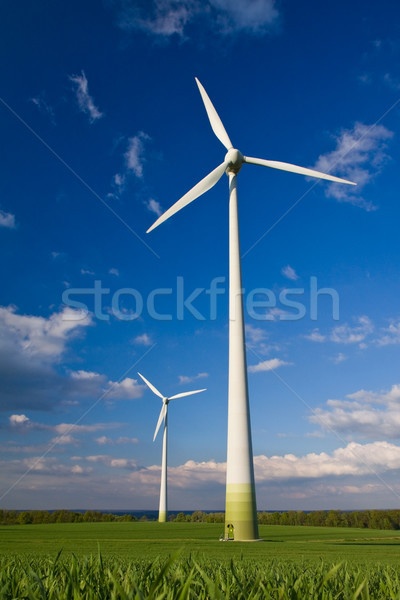 Windmills and blue sky Stock photo © Gbuglok