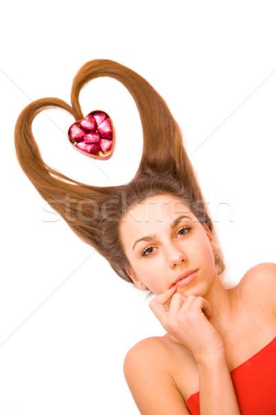 Jeunes saint valentin fille adolescente bonbons boîte Photo stock © Gbuglok
