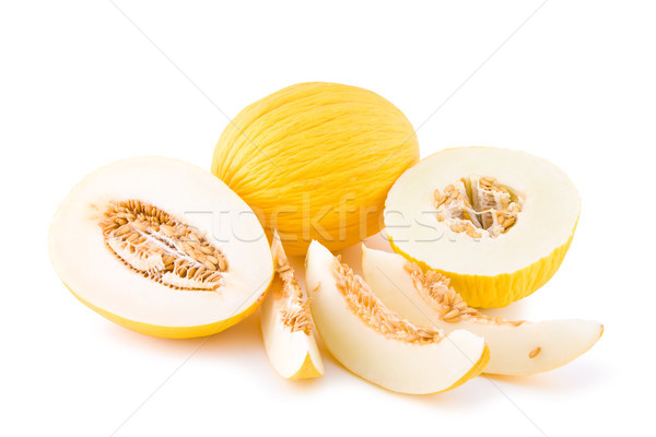 Zoete Geel meloen vruchten geïsoleerd witte Stockfoto © Gbuglok