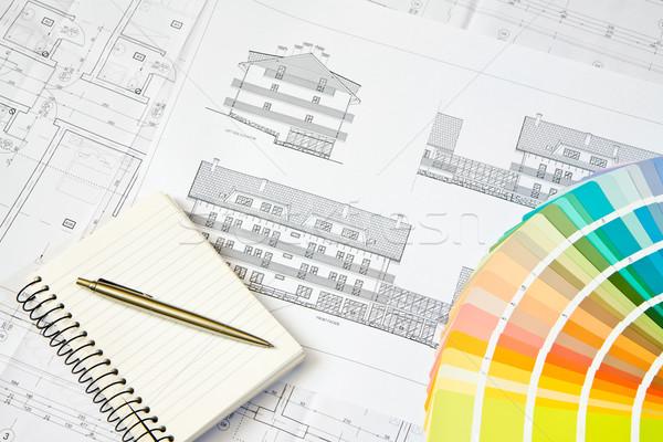 Architectural dessin notepad plan couleur design Photo stock © Gbuglok