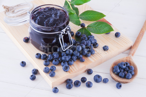 Blueberry jam and fruits on the table Stock photo © Gbuglok