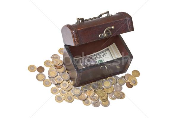 Vieux rétro cas argent à l'intérieur pièces Photo stock © Gbuglok
