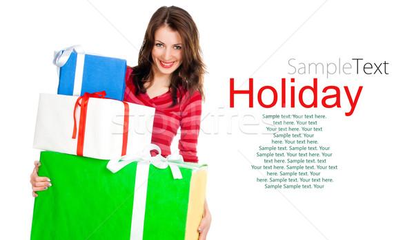 かわいい 若い女の子 ギフト 贈り物 白 サンプル ストックフォト © GekaSkr