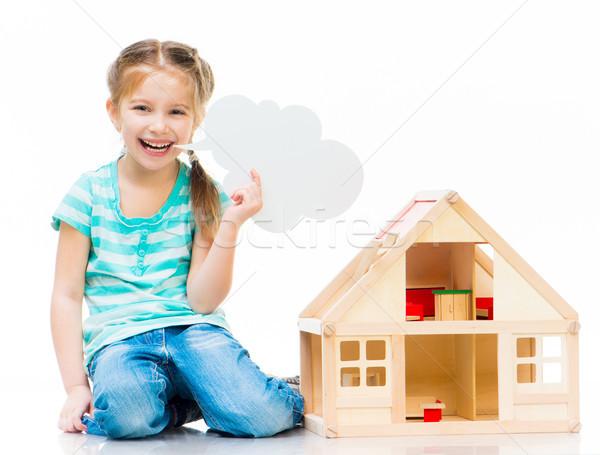 Kız oyuncak ev küçük gülen Stok fotoğraf © GekaSkr