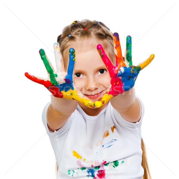 Mädchen Hand Lächeln Gesicht glücklich malen Stock foto © GekaSkr