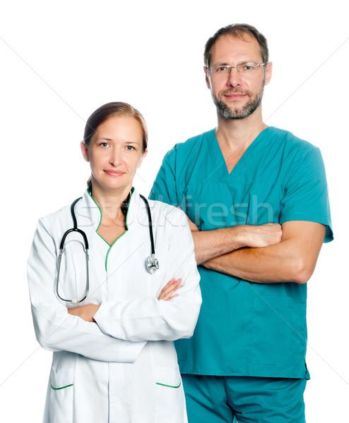 врачи медицинской сотрудников изолированный белый волос Сток-фото © GekaSkr