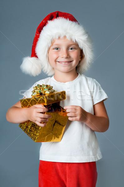 girl dressed as Santa with gifts Stock photo © GekaSkr