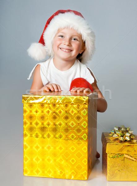 少女 サンタクロース 贈り物 女の子 帽子 女性 ストックフォト © GekaSkr