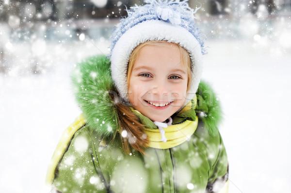 Menina inverno férias sorridente feliz little girl Foto stock © GekaSkr