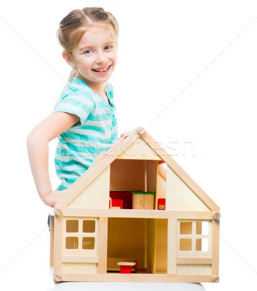 Dziewczyna zabawki domu odizolowany biały działalności Zdjęcia stock © GekaSkr
