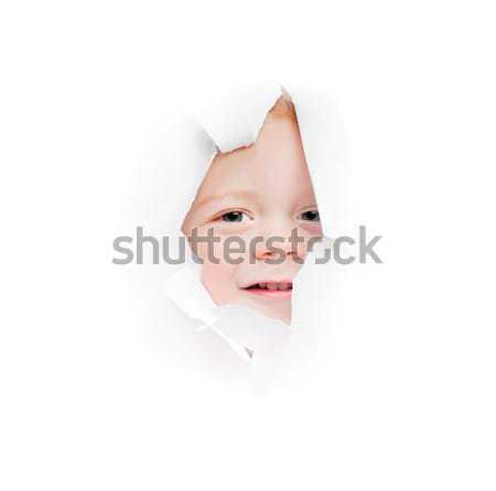 Stockfoto: Jongen · gat · kind · vel · papier