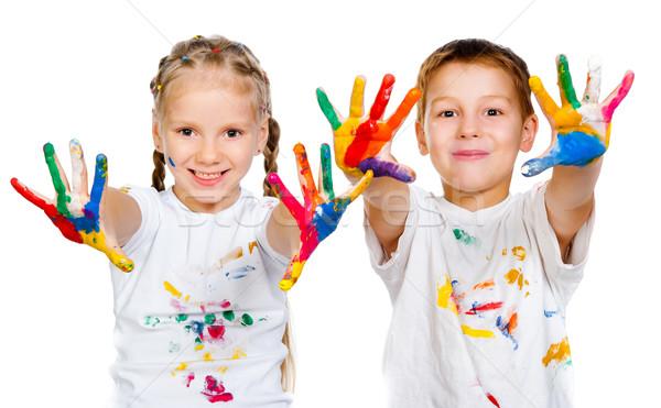 Menina feliz criança pintar diversão menino Foto stock © GekaSkr