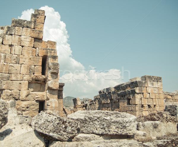 Antigua ruinas Turquía carretera edificio puesta de sol Foto stock © GekaSkr