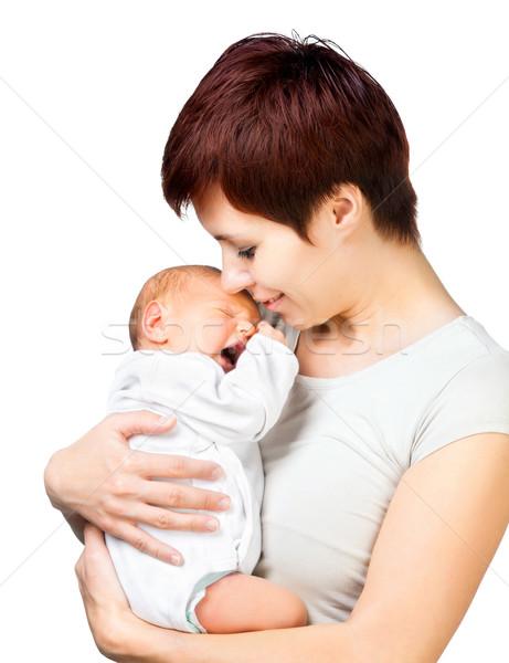 Bebê mãe belo isolado branco menina Foto stock © GekaSkr